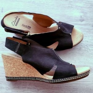Clarks Collection Soft Cushion Cork Wedges Black 8